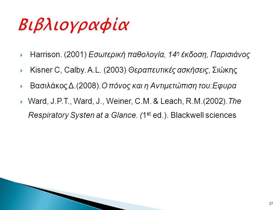  Harrison. (2001) Εσωτερική παθολογία, 14 η έκδοση, Παρισιάνος  Kisner C, Calby. A.L. (2003) Θεραπευτικές ασκήσεις, Σιώκης  Βασιλάκος Δ.(2008).Ο πό
