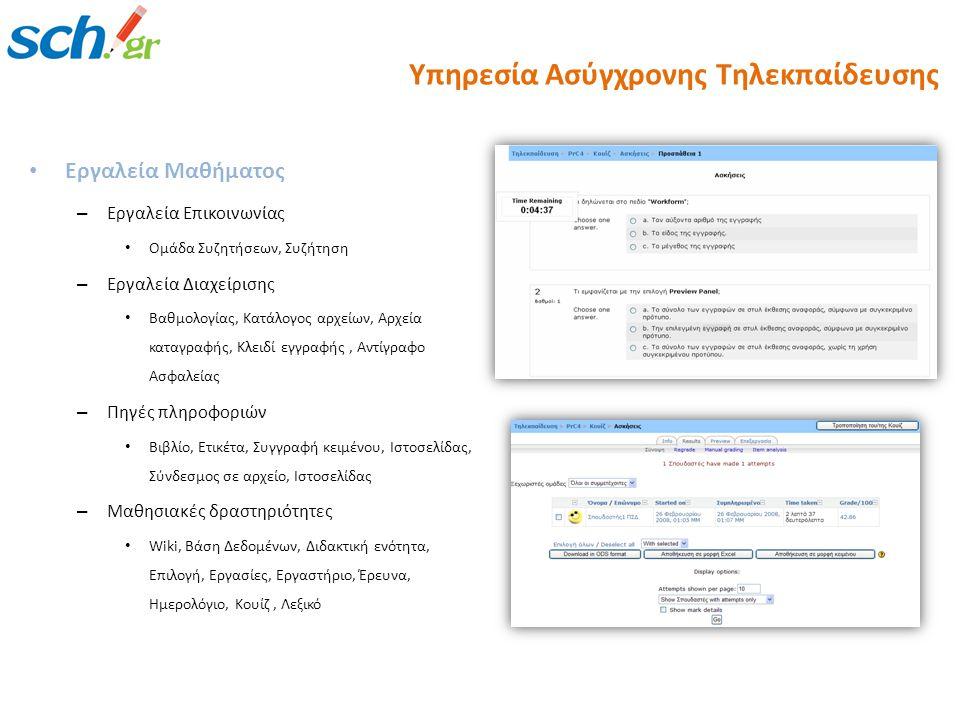 Εργαλεία Μαθήματος – Εργαλεία Επικοινωνίας Ομάδα Συζητήσεων, Συζήτηση – Εργαλεία Διαχείρισης Βαθμολογίας, Κατάλογος αρχείων, Αρχεία καταγραφής, Κλειδί εγγραφής, Αντίγραφο Ασφαλείας – Πηγές πληροφοριών Βιβλίο, Ετικέτα, Συγγραφή κειμένου, Ιστοσελίδας, Σύνδεσμος σε αρχείο, Ιστοσελίδας – Μαθησιακές δραστηριότητες Wiki, Βάση Δεδομένων, Διδακτική ενότητα, Επιλογή, Εργασίες, Εργαστήριο, Έρευνα, Ημερολόγιο, Κουίζ, Λεξικό Υπηρεσία Ασύγχρονης Τηλεκπαίδευσης