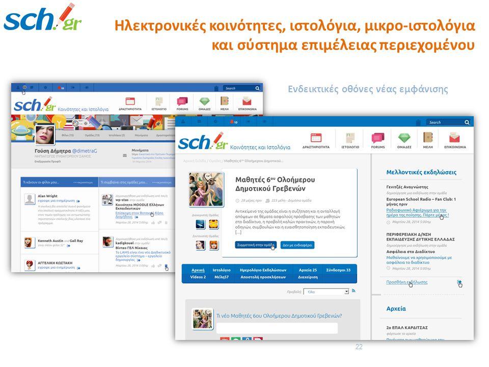 22 Ενδεικτικές οθόνες νέας εμφάνισης Ηλεκτρονικές κοινότητες, ιστολόγια, μικρο-ιστολόγια και σύστημα επιμέλειας περιεχομένου