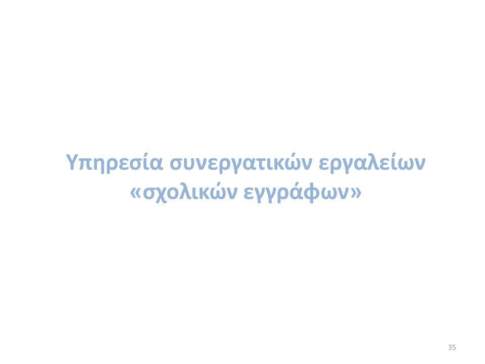 35 Υπηρεσία συνεργατικών εργαλείων «σχολικών εγγράφων»