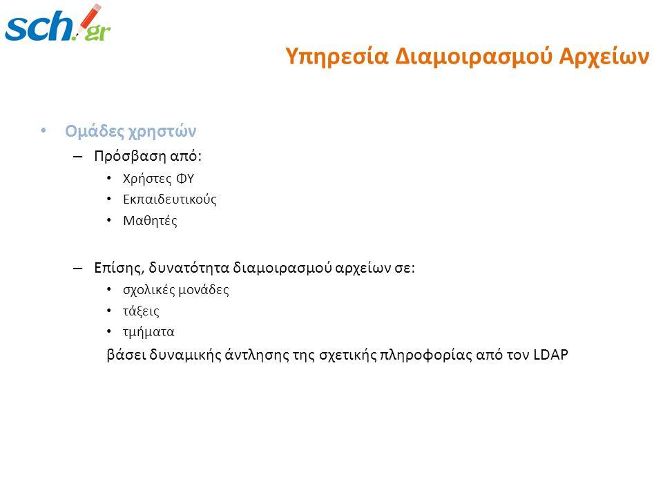 Ομάδες χρηστών – Πρόσβαση από: Χρήστες ΦΥ Εκπαιδευτικούς Μαθητές – Επίσης, δυνατότητα διαμοιρασμού αρχείων σε: σχολικές μονάδες τάξεις τμήματα βάσει δυναμικής άντλησης της σχετικής πληροφορίας από τον LDAP Υπηρεσία Διαμοιρασμού Αρχείων
