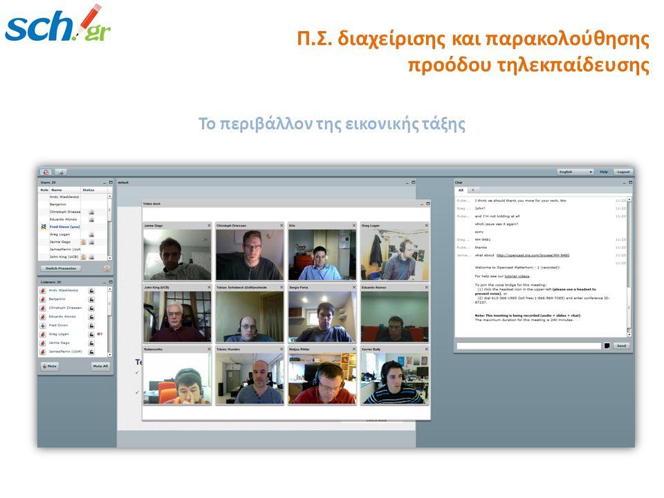 Το περιβάλλον της εικονικής τάξης Π.Σ. διαχείρισης και παρακολούθησης προόδου τηλεκπαίδευσης