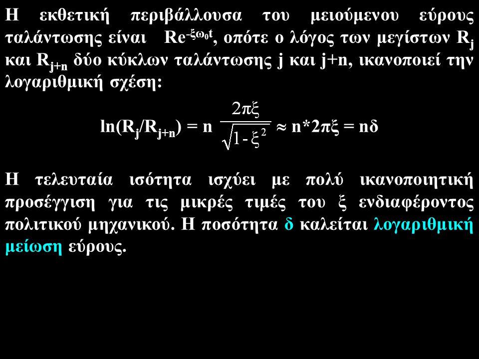 Η εκθετική περιβάλλουσα του μειούμενου εύρους ταλάντωσης είναι Re -ξω 0 t, οπότε ο λόγος των μεγίστων R j και R j+n δύο κύκλων ταλάντωσης j και j+n, ικανοποιεί την λογαριθμική σχέση: Η τελευταία ισότητα ισχύει με πολύ ικανοποιητική προσέγγιση για τις μικρές τιμές του ξ ενδιαφέροντος πολιτικού μηχανικού.
