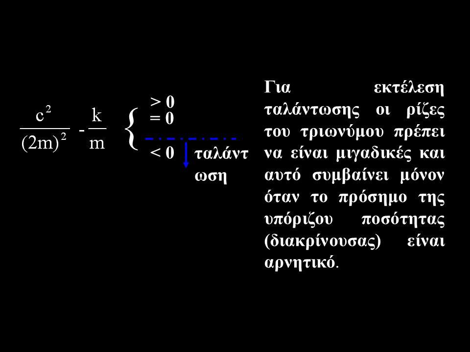 { > 0 = 0 < 0 ταλάντ ωση Για εκτέλεση ταλάντωσης οι ρίζες του τριωνύμου πρέπει να είναι μιγαδικές και αυτό συμβαίνει μόνον όταν το πρόσημο της υπόριζου ποσότητας (διακρίνουσας) είναι αρνητικό.