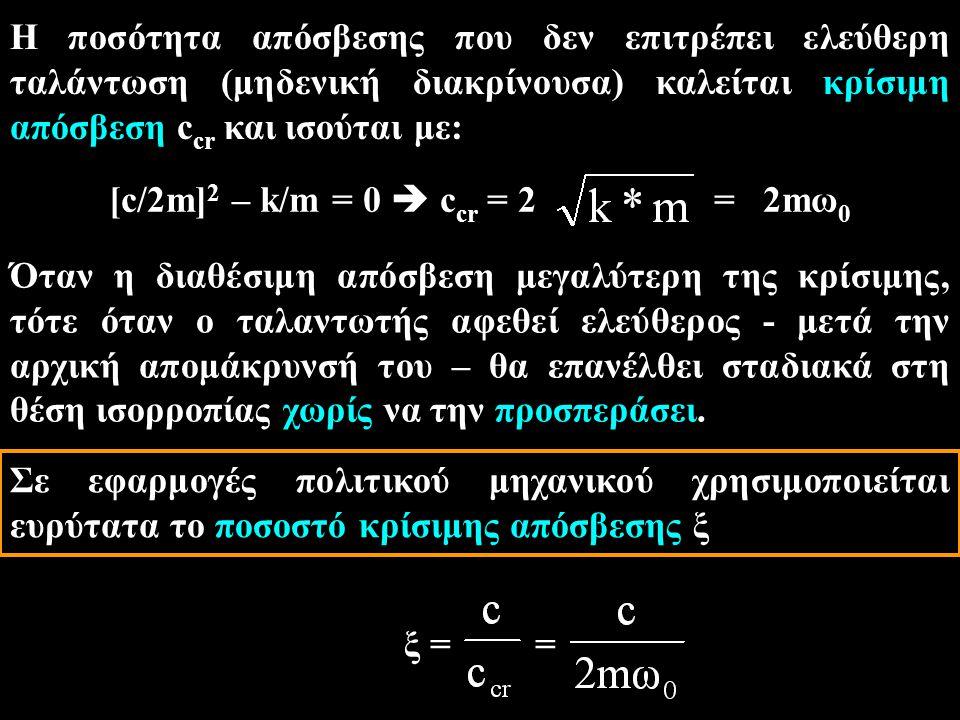 Η ποσότητα απόσβεσης που δεν επιτρέπει ελεύθερη ταλάντωση (μηδενική διακρίνουσα) καλείται κρίσιμη απόσβεση c cr και ισούται με: [c/2m] 2 – k/m = 0  c cr = 2 = 2mω 0 Όταν η διαθέσιμη απόσβεση μεγαλύτερη της κρίσιμης, τότε όταν ο ταλαντωτής αφεθεί ελεύθερος - μετά την αρχική απομάκρυνσή του – θα επανέλθει σταδιακά στη θέση ισορροπίας χωρίς να την προσπεράσει.