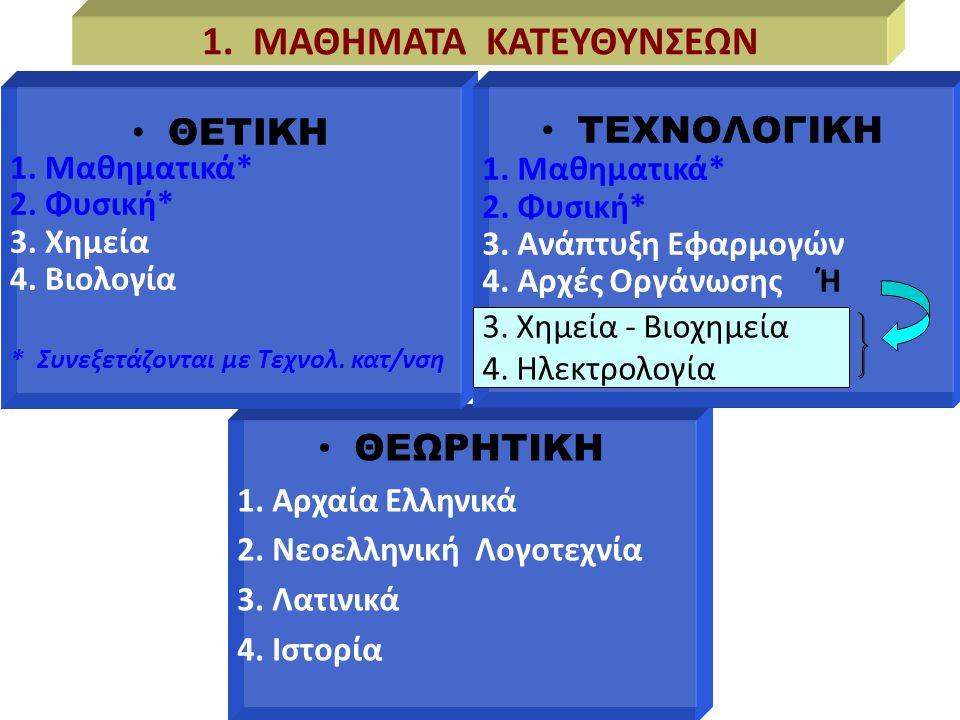 1. ΜΑΘΗΜΑΤΑ ΚΑΤΕΥΘΥΝΣΕΩΝ 3. Χημεία - Βιοχημεία 4. Ηλεκτρολογία