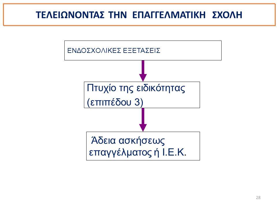 28 ΤΕΛΕΙΩΝΟΝΤΑΣ ΤΗΝ ΕΠΑΓΓΕΛΜΑΤΙΚΗ ΣΧΟΛΗ ΕΝΔΟΣΧΟΛΙΚΕΣ ΕΞΕΤΑΣΕΙΣ Πτυχίο της ειδικότητας (επιπέδου 3) Άδεια ασκήσεως επαγγέλματος ή Ι.Ε.Κ.