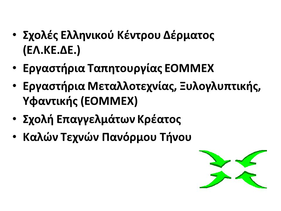 Σχολές Ελληνικού Κέντρου Δέρματος (ΕΛ.ΚΕ.ΔΕ.) Εργαστήρια Ταπητουργίας ΕΟΜΜΕΧ Εργαστήρια Μεταλλοτεχνίας, Ξυλογλυπτικής, Υφαντικής (ΕΟΜΜΕΧ) Σχολή Επαγγελμάτων Κρέατος Καλών Τεχνών Πανόρμου Τήνου