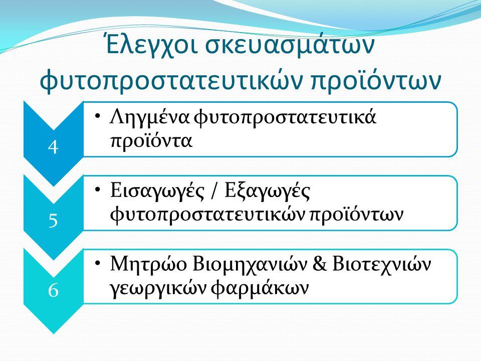 Έλεγχοι σκευασμάτων φυτοπροστατευτικών προϊόντων 4 Ληγμένα φυτοπροστατευτικά προϊόντα 5 Εισαγωγές / Εξαγωγές φυτοπροστατευτικών προϊόντων 6 Μητρώο Βιομηχανιών & Βιοτεχνιών γεωργικών φαρμάκων