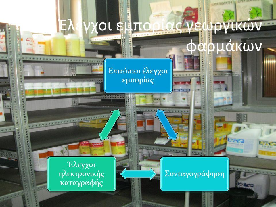 Έλεγχοι εμπορίας γεωργικών φαρμάκων Επιτόπιοι έλεγχοι εμπορίας Συνταγογράφηση Έλεγχοι ηλεκτρονικής καταγραφής