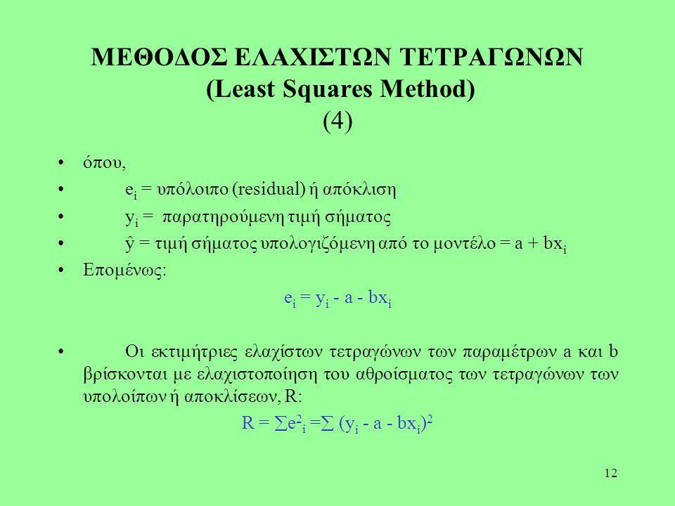 12 ΜΕΘΟΔΟΣ ΕΛΑΧΙΣΤΩΝ ΤΕΤΡΑΓΩΝΩΝ (Least Squares Method) (4) όπου, e i = υπόλοιπο (residual) ή απόκλιση y i = παρατηρούμενη τιμή σήματος ŷ = τιμή σήματο