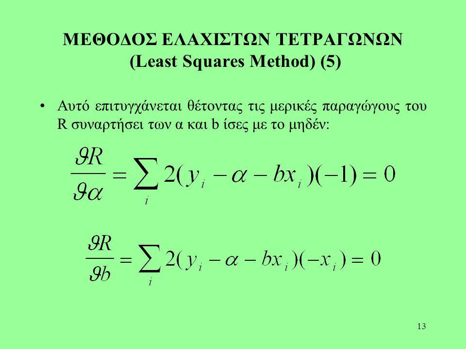 13 ΜΕΘΟΔΟΣ ΕΛΑΧΙΣΤΩΝ ΤΕΤΡΑΓΩΝΩΝ (Least Squares Method) (5) Αυτό επιτυγχάνεται θέτοντας τις μερικές παραγώγους του R συναρτήσει των α και b ίσες με το