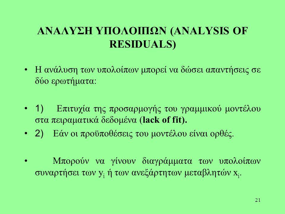 21 ΑΝΑΛΥΣΗ ΥΠΟΛΟΙΠΩΝ (ANALYSIS OF RESIDUALS) Η ανάλυση των υπολοίπων μπορεί να δώσει απαντήσεις σε δύο ερωτήματα: 1) Επιτυχία της προσαρμογής του γραμ