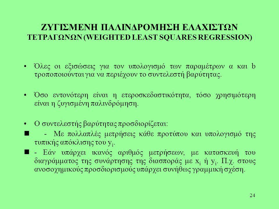 24 ΖΥΓΙΣΜΕΝΗ ΠΑΛΙΝΔΡΟΜΗΣΗ ΕΛΑΧΙΣΤΩΝ ΤΕΤΡΑΓΩΝΩΝ (WEIGHTED LEAST SQUARES REGRESSION) Όλες οι εξισώσεις για τον υπολογισμό των παραμέτρων α και b τροποπο