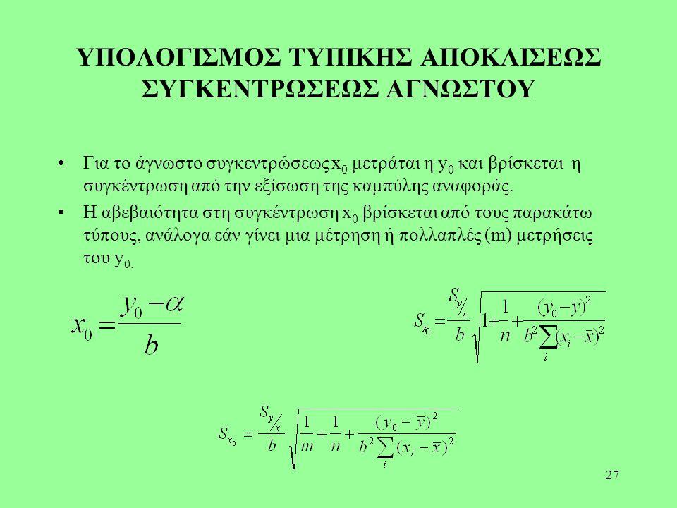 27 ΥΠΟΛΟΓΙΣΜΟΣ ΤΥΠΙΚΗΣ ΑΠΟΚΛΙΣΕΩΣ ΣΥΓΚΕΝΤΡΩΣΕΩΣ ΑΓΝΩΣΤΟΥ Για το άγνωστο συγκεντρώσεως x 0 μετράται η y 0 και βρίσκεται η συγκέντρωση από την εξίσωση τ