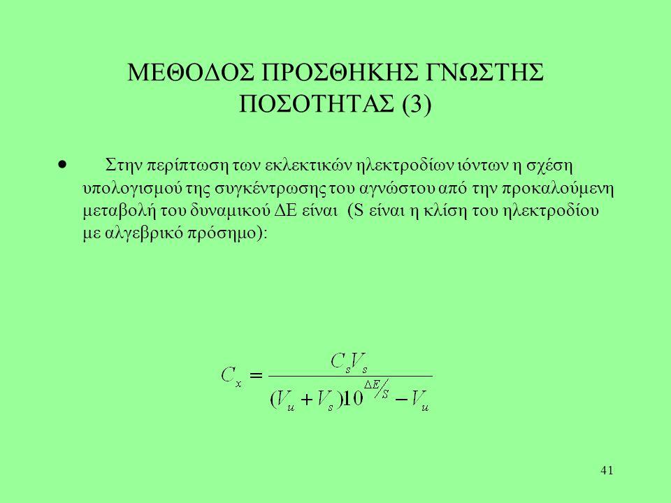 41 ΜΕΘΟΔΟΣ ΠΡΟΣΘΗΚΗΣ ΓΝΩΣΤΗΣ ΠΟΣΟΤΗΤΑΣ (3)  Στην περίπτωση των εκλεκτικών ηλεκτροδίων ιόντων η σχέση υπολογισμού της συγκέντρωσης του αγνώστου από τη