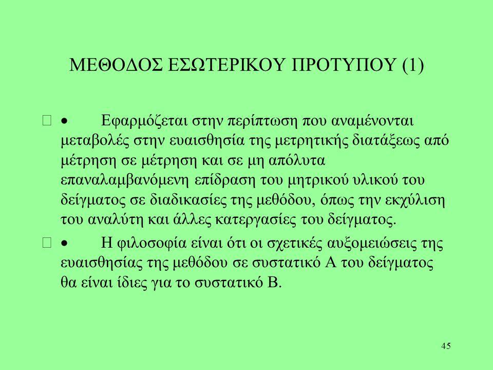 45 ΜΕΘΟΔΟΣ ΕΣΩΤΕΡΙΚΟΥ ΠΡΟΤΥΠΟΥ (1)  Εφαρμόζεται στην περίπτωση που αναμένονται μεταβολές στην ευαισθησία της μετρητικής διατάξεως από μέτρηση σε μέτ