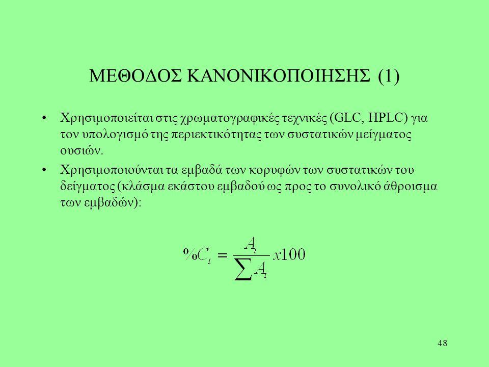 48 ΜΕΘΟΔΟΣ ΚΑΝΟΝΙΚΟΠΟΙΗΣΗΣ (1) Χρησιμοποιείται στις χρωματογραφικές τεχνικές (GLC, HPLC) για τον υπολογισμό της περιεκτικότητας των συστατικών μείγματ