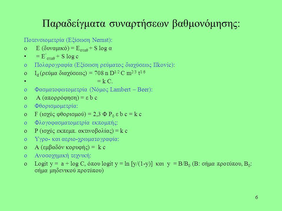 6 Παραδείγματα συναρτήσεων βαθμονόμησης: Ποτενσιομετρία (Εξίσωση Nernst): o E (δυναμικό) = E σταθ + S log α = E ' σταθ + S log c oΠολαρογραφία (Εξίσωσ
