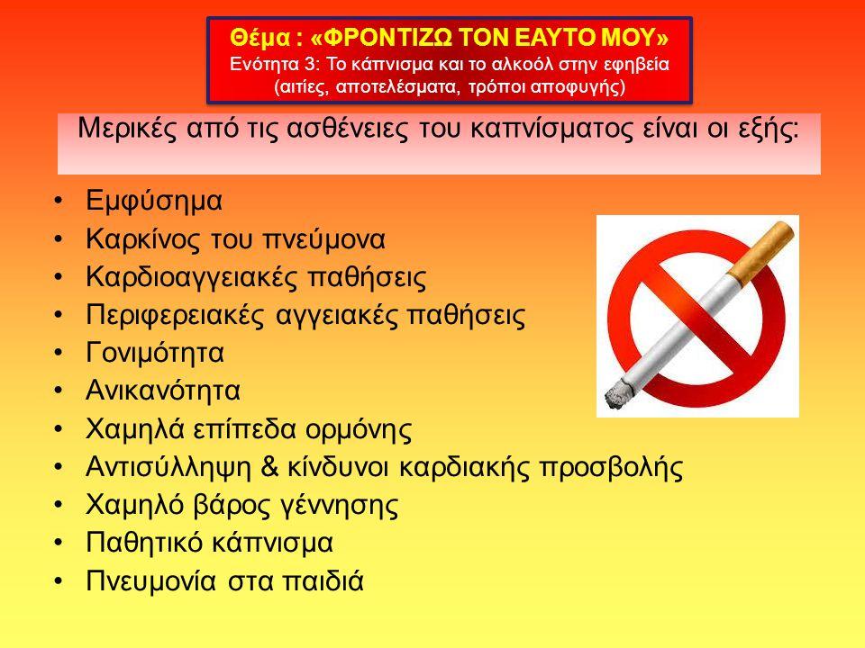 Μερικές από τις ασθένειες του καπνίσματος είναι οι εξής: Εμφύσημα Καρκίνος του πνεύμονα Καρδιοαγγειακές παθήσεις Περιφερειακές αγγειακές παθήσεις Γονιμότητα Ανικανότητα Χαμηλά επίπεδα ορμόνης Αντισύλληψη & κίνδυνοι καρδιακής προσβολής Χαμηλό βάρος γέννησης Παθητικό κάπνισμα Πνευμονία στα παιδιά Θέμα : «ΦΡΟΝΤΙΖΩ ΤΟΝ ΕΑΥΤΟ ΜΟΥ» Ενότητα 3: Το κάπνισμα και το αλκοόλ στην εφηβεία (αιτίες, αποτελέσματα, τρόποι αποφυγής) Θέμα : «ΦΡΟΝΤΙΖΩ ΤΟΝ ΕΑΥΤΟ ΜΟΥ» Ενότητα 3: Το κάπνισμα και το αλκοόλ στην εφηβεία (αιτίες, αποτελέσματα, τρόποι αποφυγής)