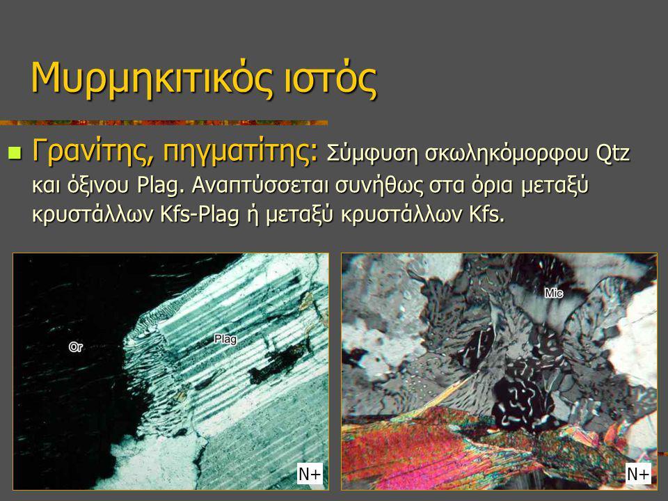 Γρανίτης, πηγματίτης: Σύμφυση σκωληκόμορφου Qtz και όξινου Plag. Αναπτύσσεται συνήθως στα όρια μεταξύ κρυστάλλων Κfs-Plag ή μεταξύ κρυστάλλων Κfs. Γρα