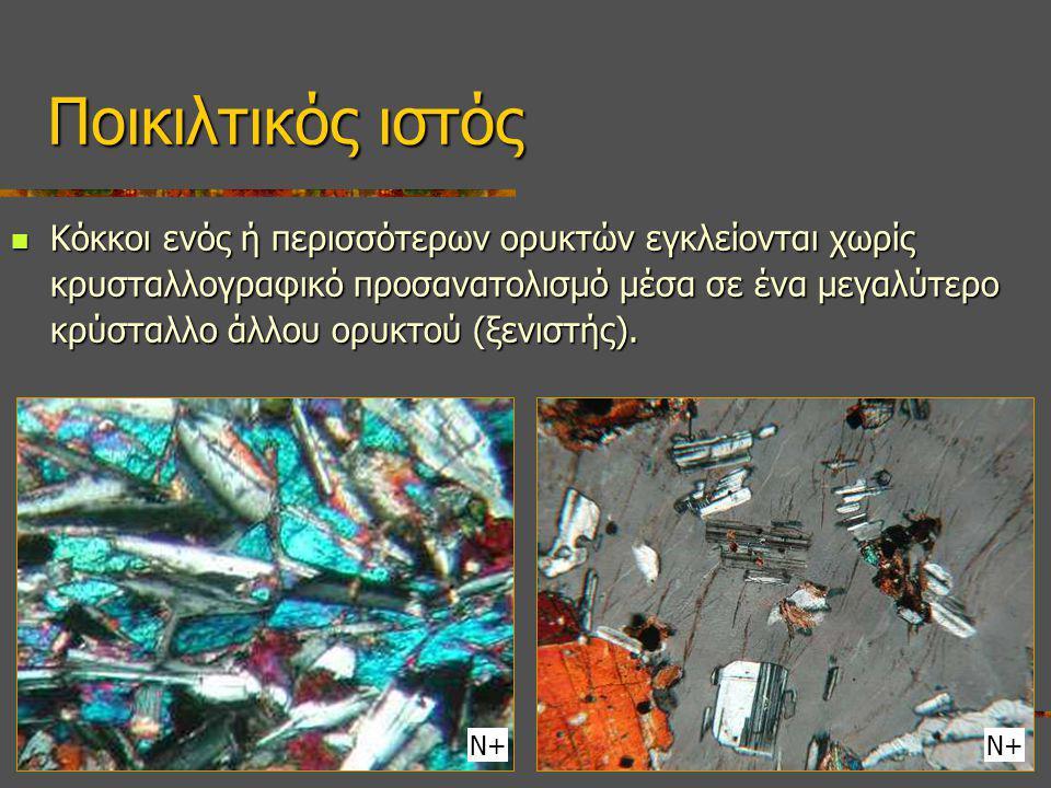 Κόκκοι ενός ή περισσότερων ορυκτών εγκλείονται χωρίς κρυσταλλογραφικό προσανατολισμό μέσα σε ένα μεγαλύτερο κρύσταλλο άλλου ορυκτού (ξενιστής). Κόκκοι