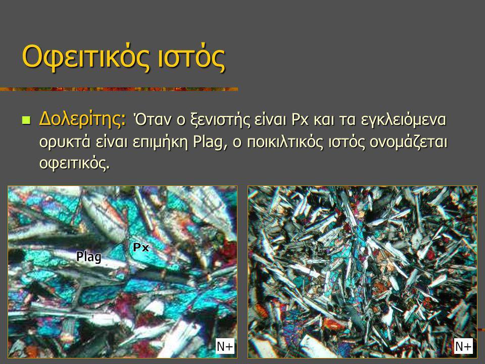 Δολερίτης: Όταν ο ξενιστής είναι Px και τα εγκλειόμενα ορυκτά είναι επιμήκη Plag, ο ποικιλτικός ιστός ονομάζεται οφειτικός.