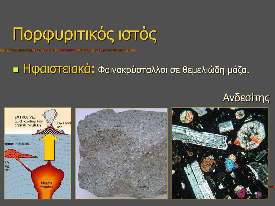 Ηφαιστειακά: Φαινοκρύσταλλοι σε θεμελιώδη μάζα.Ηφαιστειακά: Φαινοκρύσταλλοι σε θεμελιώδη μάζα.