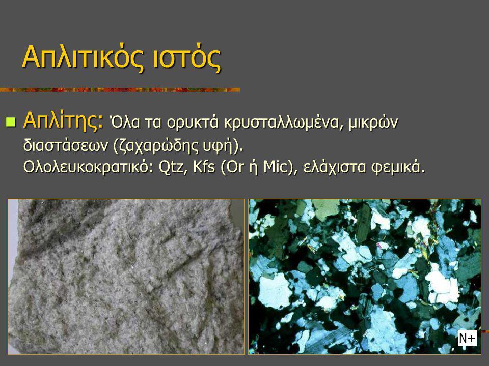 Απλίτης: Όλα τα ορυκτά κρυσταλλωμένα, μικρών διαστάσεων (ζαχαρώδης υφή). Ολολευκοκρατικό: Qtz, Kfs (Or ή Mic), ελάχιστα φεμικά. Απλίτης: Όλα τα ορυκτά