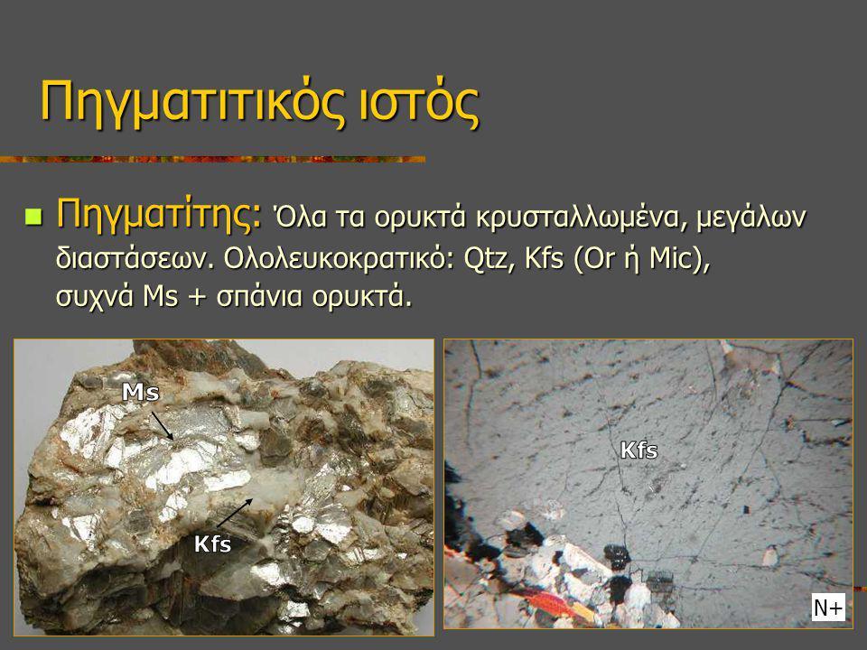 Πηγματίτης: Όλα τα ορυκτά κρυσταλλωμένα, μεγάλων διαστάσεων. Ολολευκοκρατικό: Qtz, Kfs (Or ή Mic), συχνά Ms + σπάνια ορυκτά. Πηγματίτης: Όλα τα ορυκτά