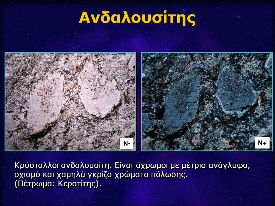 Κρύσταλλοι ανδαλουσίτη. Είναι άχρωμοι με μέτριο ανάγλυφο, σχισμό και χαμηλά γκρίζα χρώματα πόλωσης. (Πέτρωμα: Κερατίτης). Ανδαλουσίτης Ν- Ν+