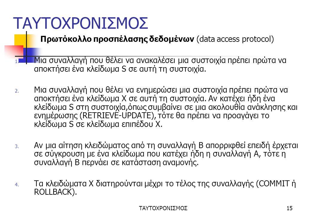 ΤΑΥΤΟΧΡΟΝΙΣΜΟΣ15 ΤΑΥΤΟΧΡΟΝΙΣΜΟΣ Πρωτόκολλο προσπέλασης δεδομένων (data access protocol) 1.