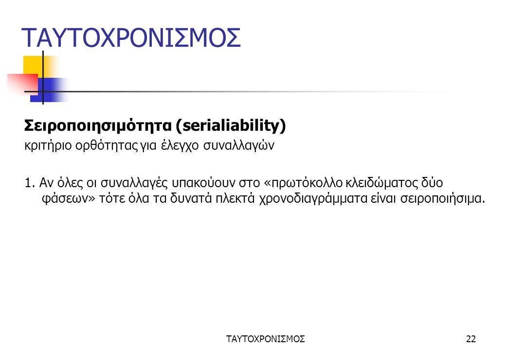 ΤΑΥΤΟΧΡΟΝΙΣΜΟΣ22 ΤΑΥΤΟΧΡΟΝΙΣΜΟΣ Σειροποιησιμότητα (serialiability) κριτήριο ορθότητας για έλεγχο συναλλαγών 1.
