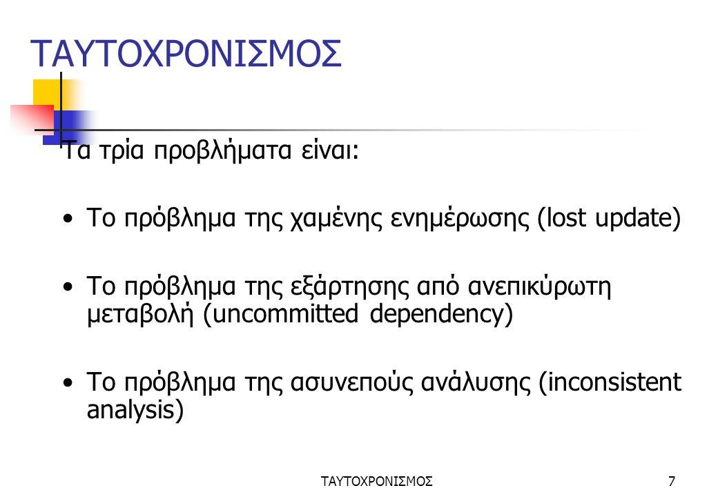 ΤΑΥΤΟΧΡΟΝΙΣΜΟΣ7 Τα τρία προβλήματα είναι: Το πρόβλημα της χαμένης ενημέρωσης (lost update) Το πρόβλημα της εξάρτησης από ανεπικύρωτη μεταβολή (uncommitted dependency) Το πρόβλημα της ασυνεπούς ανάλυσης (inconsistent analysis)