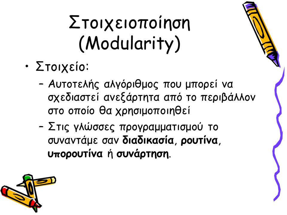 Στοιχειοποίηση (Modularity) Κλήση στοιχείου: Αν ένας αλγόριθμος χρησιμοποιεί το στοιχείο λέμε ότι το καλεί (call).