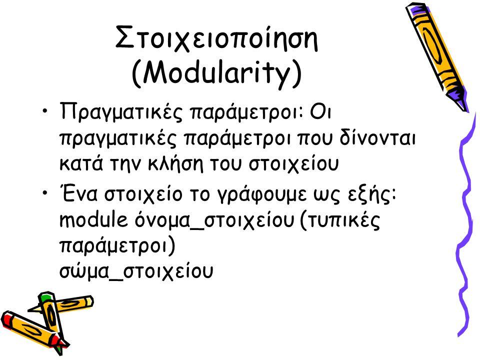 Στοιχειοποίηση (Modularity) Ένα στοιχείο το καλούμε ως εξής: όνομα_στοιχείου (πραγματικές παράμετροι) Στοιχειακός αλγόριθμος: Αλγόριθμος που φτιάχνεται από σύνολο στοιχείων.