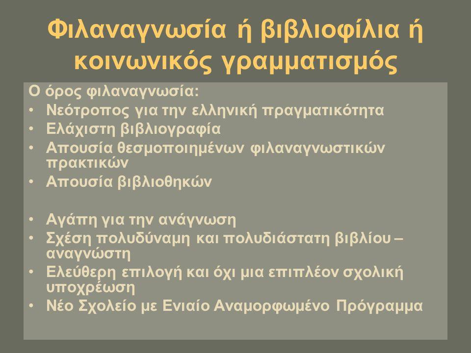 Φιλαναγνωσία ή βιβλιοφίλια ή κοινωνικός γραμματισμός Ο όρος φιλαναγνωσία: Νεότροπος για την ελληνική πραγματικότητα Ελάχιστη βιβλιογραφία Απουσία θεσμ