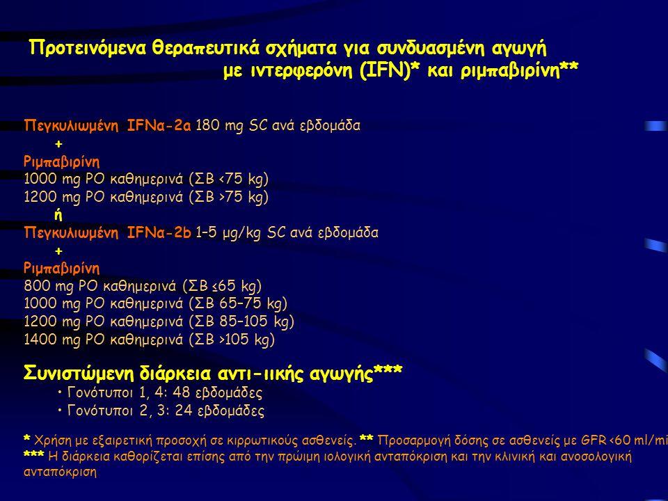 Προτεινόμενα θεραπευτικά σχήματα για συνδυασμένη αγωγή με ιντερφερόνη (IFN)* και ριμπαβιρίνη** Πεγκυλιωμένη IFNα-2a 180 mg SC ανά εβδομάδα + Ριμπαβιρίνη 1000 mg PΟ καθημερινά (ΣΒ <75 kg) 1200 mg PO καθημερινά (ΣΒ >75 kg) ή Πεγκυλιωμένη IFNα-2b 1–5 μg/kg SC ανά εβδομάδα + Ριμπαβιρίνη 800 mg PO καθημερινά (ΣΒ ≤65 kg) 1000 mg PO καθημερινά (ΣΒ 65–75 kg) 1200 mg PO καθημερινά (ΣΒ 85–105 kg) 1400 mg PO καθημερινά (ΣΒ >105 kg) Συνιστώμενη διάρκεια αντι-ιικής αγωγής*** Γονότυποι 1, 4: 48 εβδομάδες Γονότυποι 2, 3: 24 εβδομάδες * Χρήση με εξαιρετική προσοχή σε κιρρωτικούς ασθενείς.