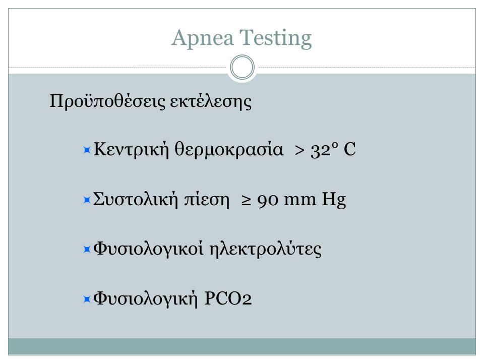 Apnea Testing Προϋποθέσεις εκτέλεσης ΚΚεντρική θερμοκρασία > 32° C ΣΣυστολική πίεση ≥ 90 mm Hg ΦΦυσιολογικοί ηλεκτρολύτες ΦΦυσιολογική PCO2