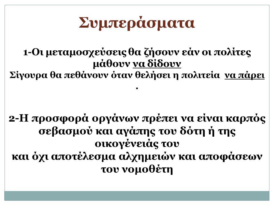 Συμπεράσματα 1-Οι μεταμοσχεύσεις θα ζήσουν εάν οι πολίτες μάθουν να δίδουν Σίγουρα θα πεθάνουν όταν θελήσει η πολιτεία να πάρει. 2-Η προσφορά οργάνων
