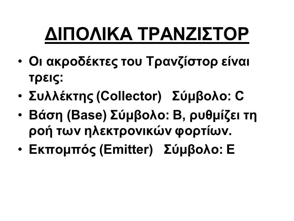 ΔΙΠΟΛΙΚΑ ΤΡΑΝΖΙΣΤΟΡ Οι ακροδέκτες του Τρανζίστορ είναι τρεις: Συλλέκτης (Collector) Σύμβολο: C Βάση (Base) Σύμβολο: B, ρυθμίζει τη ροή των ηλεκτρονικώ