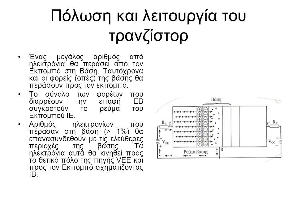Πόλωση και λειτουργία του τρανζίστορ Ένας μεγάλος αριθμός από ηλεκτρόνια θα περάσει από τον Εκπομπό στη Βάση. Ταυτόχρονα και οι φορείς (οπές) της βάση