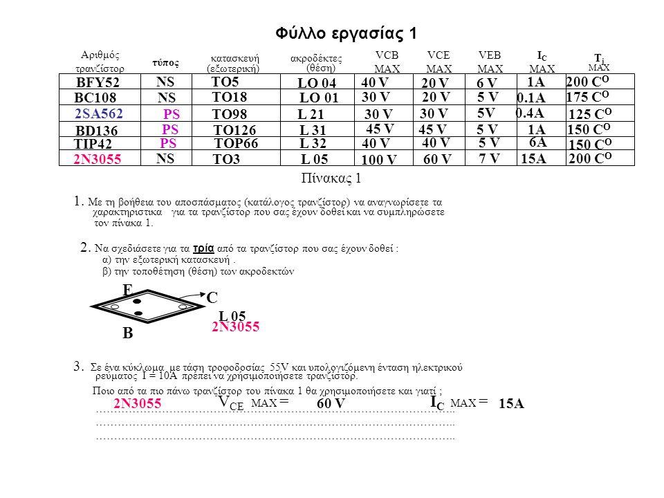 Φύλλο εργασίας 1 Αριθμός τρανζίστορ τύπος (εξωτερική) κατασκευή ακροδέκτες (θέση) VCB MAX VCE MAX VEB MAX I C MAX TjTj Πίνακας 1 1. Με τη βοήθεια του