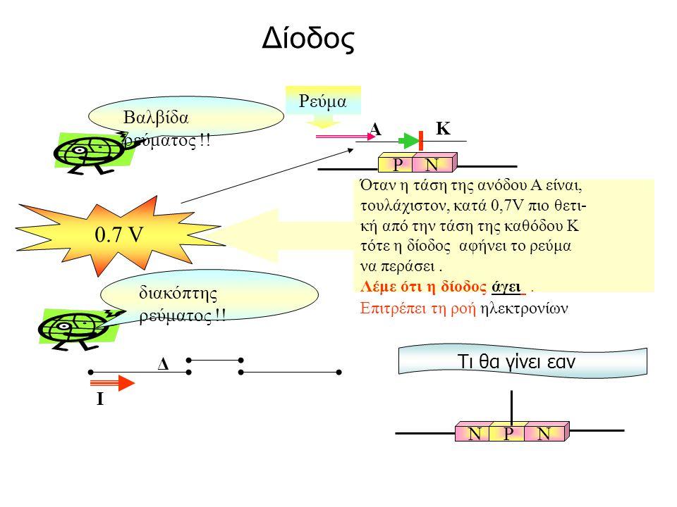 Όταν η τάση της ανόδου Α είναι, τουλάχιστον, κατά 0,7V πιο θετι- κή από την τάση της καθόδου Κ τότε η δίοδος αφήνει το ρεύμα να περάσει. Λέμε ότι η δί