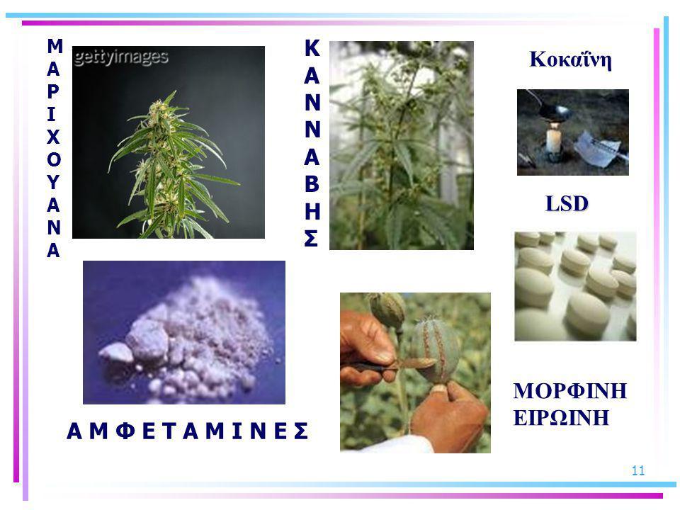 11 ΚΑΝΝΑΒΗΣΚΑΝΝΑΒΗΣ ΜΑΡΙΧΟΥΑΝΑΜΑΡΙΧΟΥΑΝΑ Α Μ Φ Ε Τ Α Μ Ι Ν Ε Σ ΜΟΡΦΙΝΗ ΕΙΡΩΙΝΗ LSD Κοκαΐνη