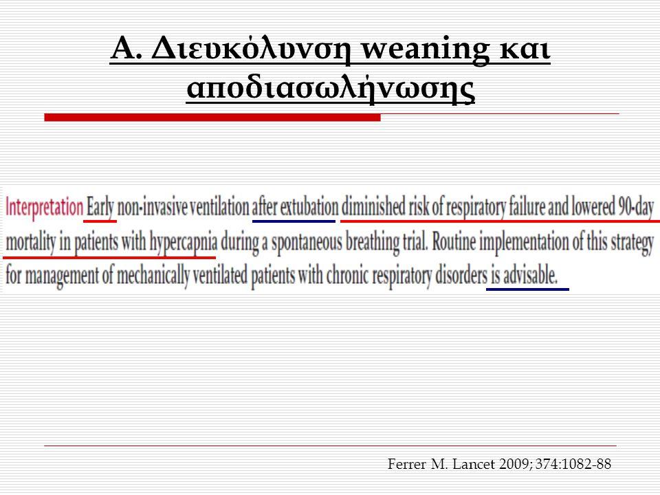A. Διευκόλυνση weaning και αποδιασωλήνωσης Ferrer M. Lancet 2009; 374:1082-88