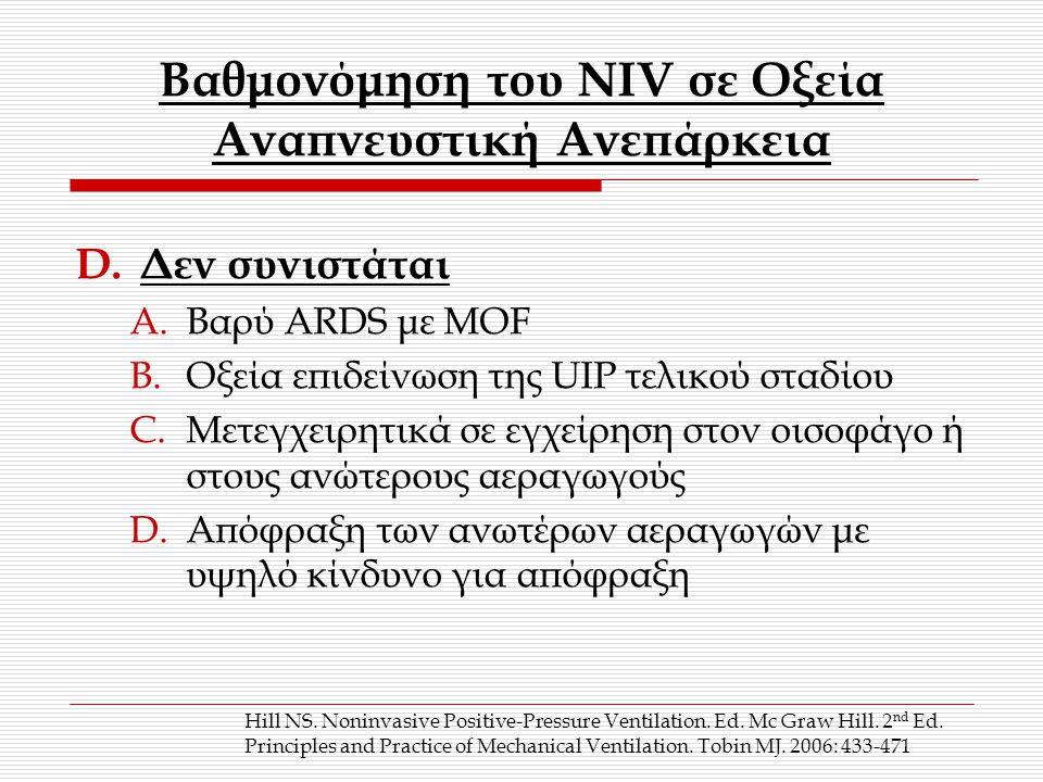 Βαθμονόμηση του ΝΙV σε Οξεία Αναπνευστική Ανεπάρκεια D.Δεν συνιστάται A.Βαρύ ARDS με ΜΟF B.Οξεία επιδείνωση της UIP τελικού σταδίου C.Μετεγχειρητικά σε εγχείρηση στον οισοφάγο ή στους ανώτερους αεραγωγούς D.Απόφραξη των ανωτέρων αεραγωγών με υψηλό κίνδυνο για απόφραξη Hill NS.