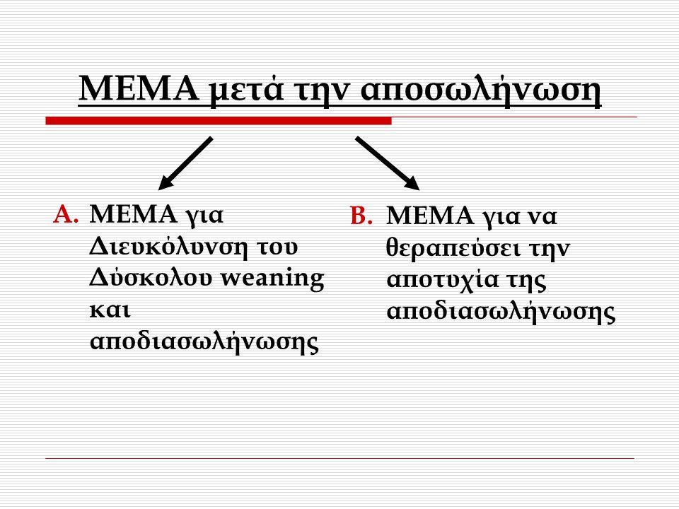 MEMA μετά την αποσωλήνωση A.ΜΕΜΑ για Διευκόλυνση του Δύσκολου weaning και αποδιασωλήνωσης B.ΜΕΜΑ για να θεραπεύσει την αποτυχία της αποδιασωλήνωσης