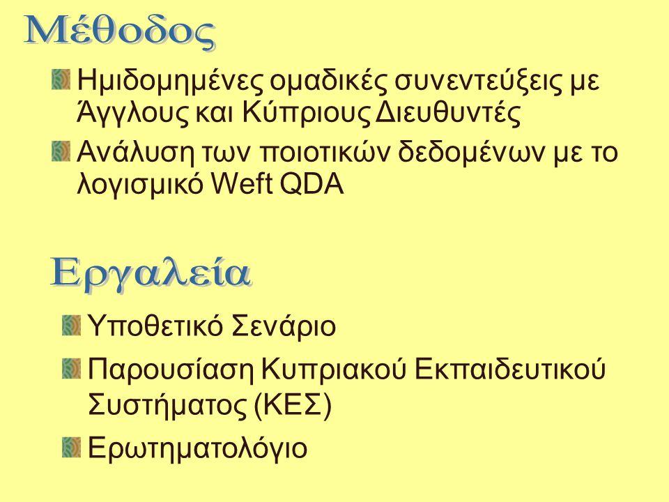 Ημιδομημένες ομαδικές συνεντεύξεις με Άγγλους και Κύπριους Διευθυντές Ανάλυση των ποιοτικών δεδομένων με το λογισμικό Weft QDA Υποθετικό Σενάριο Παρουσίαση Κυπριακού Εκπαιδευτικού Συστήματος (ΚΕΣ) Ερωτηματολόγιο