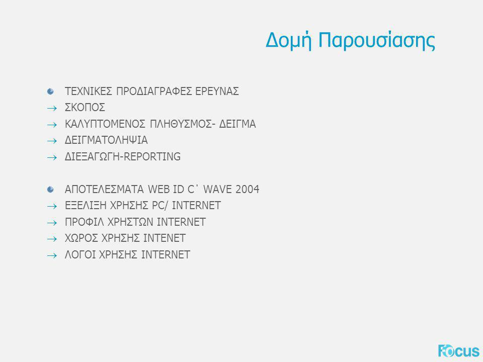 Σκοπός της Έρευνας Η έρευνα γίνεται με στόχο να σκιαγραφήσει το περιβάλλον της αγοράς του Internet στην Ελλάδα και πιο συγκεκριμένα να… …διερευνήσει τη συμπεριφορά του Έλληνα απέναντι στο Διαδίκτυο …περιγράψει την ταυτότητα του τωρινού και potential χρήστη
